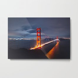 Golden Gate Bridge at Night | San Francisco, CA Metal Print