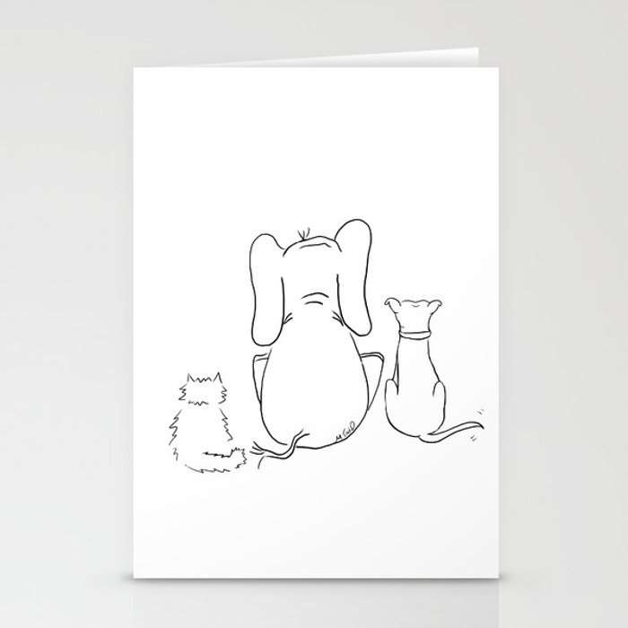 Cat, elephant, and dog friendship trio Stationery Cards