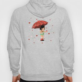 Little Girl with Umbrella and Hearts Hoody
