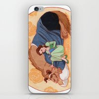 beauty and the beast iPhone & iPod Skins featuring Beauty and the Beast by Naineuh