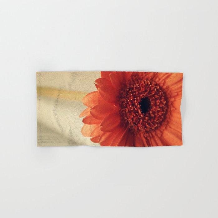 Golden Sunlight Orange Gerbera Hand & Bath Towel