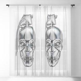 Skull grenade silver Sheer Curtain