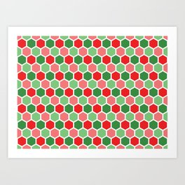 Holiday Hexies Art Print