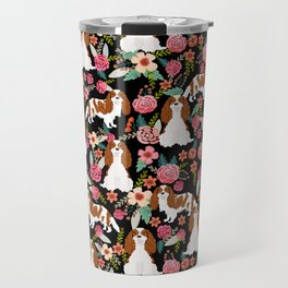 Blenheim Cavalier King Charles Spaniel dog breed florals pattern Travel Mug