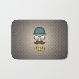 Blue Top Hat, Moustache, Glasses and Bow Tie Bath Mat