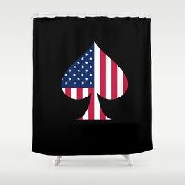 USA American Flag Spade Military Patriotic World War 2 Shower Curtain