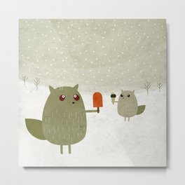 beaver and squirrel with ice creams Metal Print