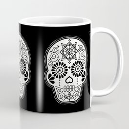 Día de Muertos Calavera • Mexican Sugar Skull – White on Black Palette Coffee Mug