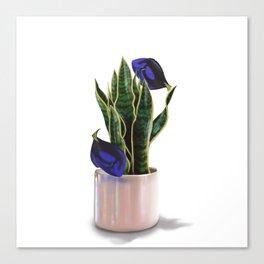 Blue Tang & Snake Plant Canvas Print