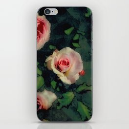 Big Pink Roses and Green Leaves Graphic iPhone Skin