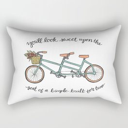 Bicycle Built For Two | Tandem Bike Basket Flowers Lettering Rectangular Pillow