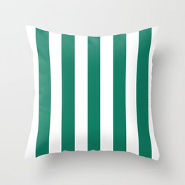 Deep green-cyan turquoise - solid color - white vertical lines pattern Throw Pillow