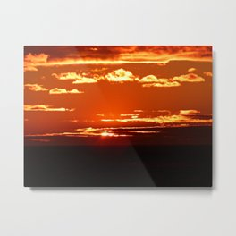 Red Gold Sunset in the Clouds Metal Print