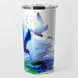 Birds flying. Sea, ocean watercolor gulls with waves. Dark blue water. Travel Mug
