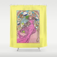mucha Shower Curtains featuring Mucha Bubblegum by Joyia Kelly