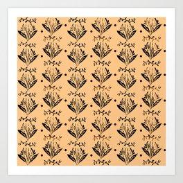 Cala Lily stamp pattern - in orange Art Print