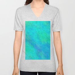 Cyan Color Unisex V-Neck