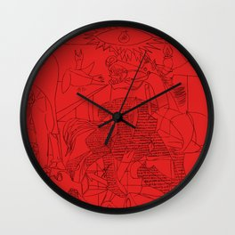 Picasso Line Art - Guernica (Red) Wall Clock
