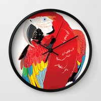 wasted rita Wall Clocks featuring Rita  by Nicholas Darby