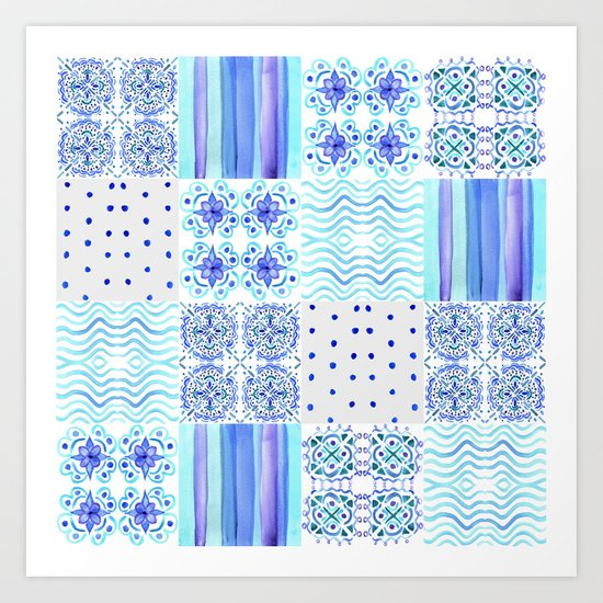 Amalfi Coast Tiles Art Print