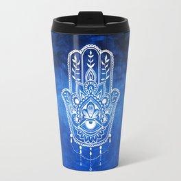 Blue Mandala Hamsa Travel Mug