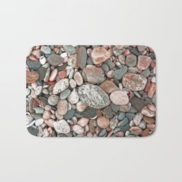 Gray, Pink and Salmon Beach Stones Bath Mat