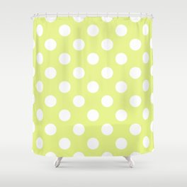 Key lime - yelllow - White Polka Dots - Pois Pattern Shower Curtain