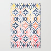 damask Canvas Prints featuring Tropical Ikat Damask by micklyn