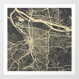 Portland Map yellow Art Print