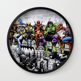 Superhero Lunch Atop A Skyscraper Wall Clock