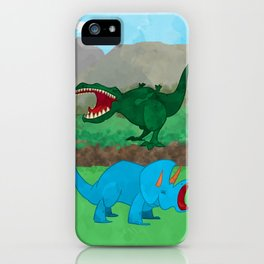 Dinosaurs! feat. Tyrannosaurus Rex and Triceratops iPhone Case
