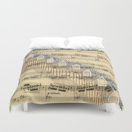 Hill Town with Music Duvet Cover