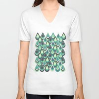 feathers V-neck T-shirts featuring Feathers by Kakel