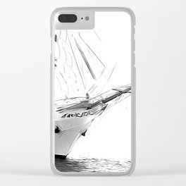 Black and White Sailboat Clear iPhone Case