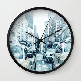 New York City Snowing Blizzard Photo Big Apple Streets Cars Wall Clock