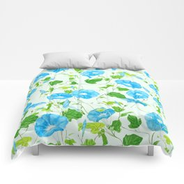 blue morning glory pattern Comforters
