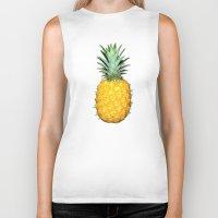 pineapples Biker Tanks featuring Big Pineapples by CumulusFactory