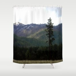 First snow on the mountains.... Shower Curtain