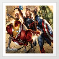avenger Art Prints featuring The Avenger by Tania Joy