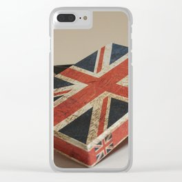 Cardboard box consumed with the British flag Clear iPhone Case