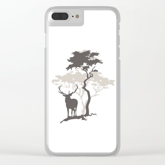 Deer Under Tree No. 1 Clear iPhone Case