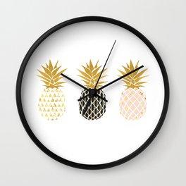 fun pineapple design gold Wall Clock