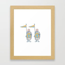 Knights in armour with shield and sword. Framed Art Print