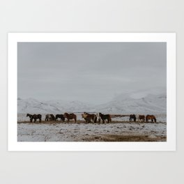 Of horses and mountains Art Print