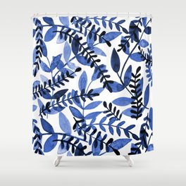 Watercolor branches - blue Shower Curtain