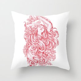 Beautiful Girl with RED ROSE Throw Pillow