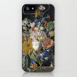 Jan Van Huysum - Poppies, hollyhock, morning glory, viola, daisies iPhone Case