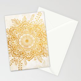 Queen Starring of Mandala-Gold Sunflower II Stationery Cards