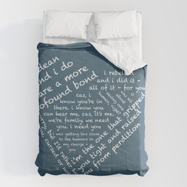 Quotes of the Heart - Destiel (White) Comforters