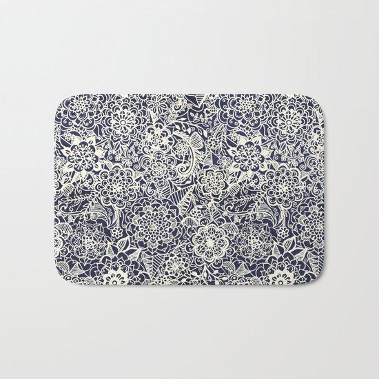 Lace on Nautical Navy Blue Bath Mat